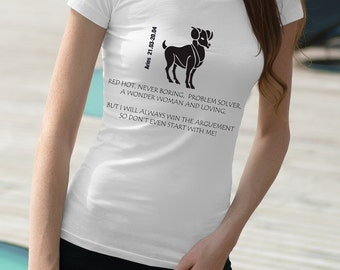 Aries T shirt funny Ladies birthday gift for her uk sellers only gift personalized top tee zodiac aries top astrology gift