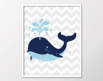 Nautical Nursery Print, Nautical Nursery Wall Decor, Personalized Baby Gift, Boy Nursery Print, Whale Nursery Decor Printable, Wall Art