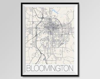 BLOOMINGTON Indiana Map, Bloomington City Map Print, Bloomington Map Poster, Bloomington Wall Art, Indiana University Bloomington gift