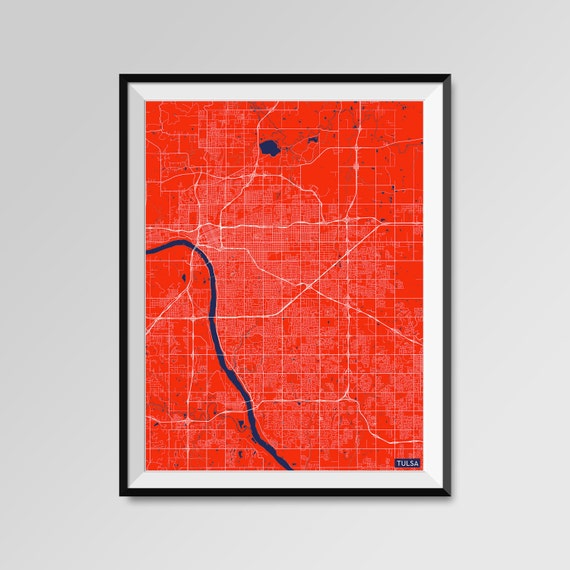 Tulsa map print minimal wall art office home decor colors for Home decor tulsa