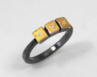 Black gold ring with small diamonds and oxidized silver, Gold and silver ring, Mixed metal ring, Hammered ring, Textured ring, Gift for her.