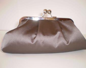 Clutch Purse, Kisslock Frame Purse, Evening Bag, Wedding Bag, Silver Frame, Grey Satin, Pale Grey Watered Taffeta Vintage Fabric Lining,
