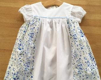 Designer Baby Girl Dress 18 Months - 2 Years - Handmade in the UK - Handmade. White/Blue Floral