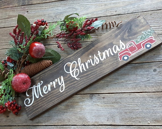 Merry Christmas with Vintage Truck Sign, Wood Sign, Christmas Decor, Christmas Sign, Happy Holiday's, Old Fashioned Red Truck Sign, Present