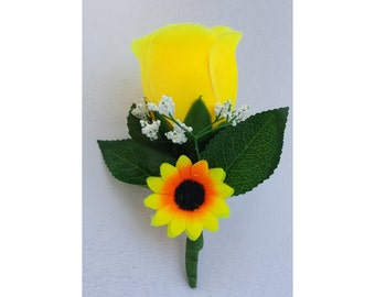 Sunflower Boutonniere Yellow Boutonnieres Sunflower Wedding Boutonniere Yellow Wedding Boutonnieres Yellow Men Boutonnieres Yellow Groomsmen