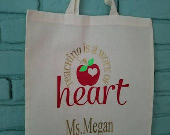 Teaching is a work of heart bag