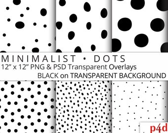 "Minimalist Dots - Black on Transparent Background, Digital Paper Overlay, 12""x12"", 300 dpi PNG, Printable, Instant Download"