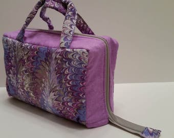 Purple Swirl Lunch Tote Opening Into a Tray.