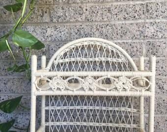 Vintage White Wicker Boho Hanging Shelf - Plant Stand