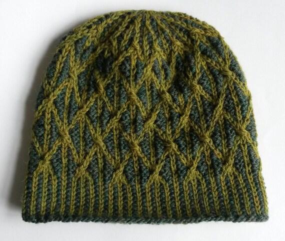 Aran Knit Beanie: Green wool alpaca hat. Unique hat. Original design. Made in Ireland. Men's beanie. Women's beanie. Teen beanie. Handknit