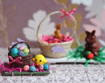 Miniature Easter Basket with the Eggs and Sweet Chick