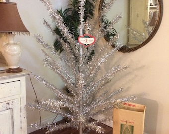 6 Foot Vintage Silver Aluminum Tinsel Tree with Tree Skirt