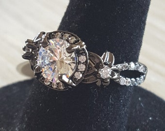 Black and clear rhinestone ring size 6