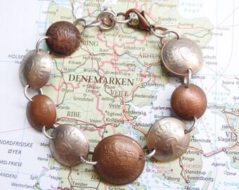 Denmark bicolor curved coin bracelet - made of coins from Denmark
