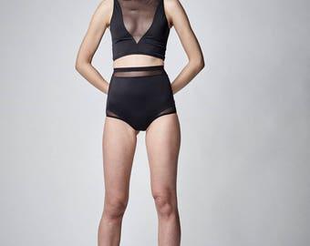 High Waisted Bikini Bottom, High Waisted Swimsuit, Black Bikini Bottom, High Cut Swimsuit, High Cut Bikini, Retro Swimwear Black Mesh Bikini