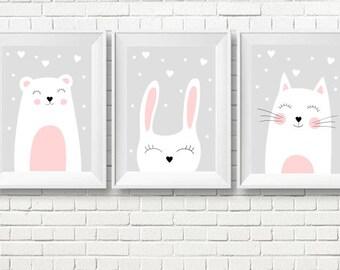 Set of Three Nursery Art Prints , Kids Wall Art, Printable Posters, Kids room, Instant download