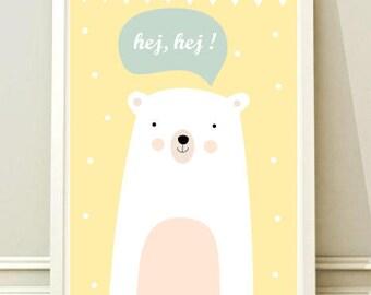 Nursery Wall Art Print, Kids Art Print, Animal Nursery Print, Modern Nursery Decor, Bear poster, Kids room
