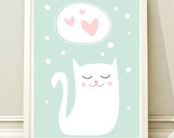 Nursery Wall Art Print, Kids Art Print, Animal Nursery Print, Modern Nursery Decor, Cat poster, Kids room