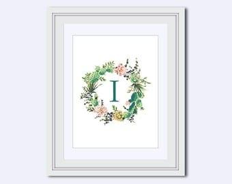 Monogram I - cactus wreath print - cactus monogram - Monogram printable - Wedding printable - Monogram Wall Art - cactus Decor - diy print