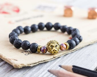 8mm - Black lava stone beaded gold Lion head stretchy bracelet, made to order yoga bracelet, mens bracelet, womens bracelet