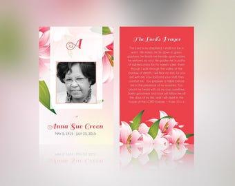 Petals Memorial Prayer Card Publisher Template