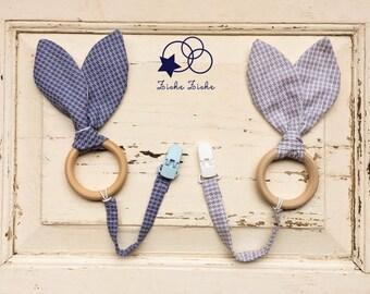 Natural wooden teething ring with matching clip, bandana bib, headband