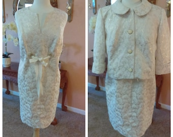 Elegant Off White dress with Jacket  and Gold 2 Piece Garment Mother of the Bride Bridal Dress for day or Civil Wedding Dress No Tag Size