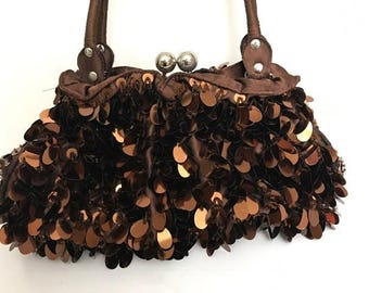 Pretty Vintage Brown Purse Sequined Beaded Purse