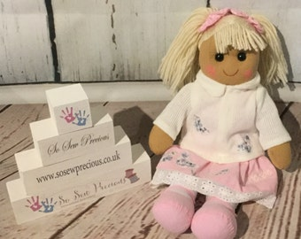 Personalised Rag Doll, birthday, new baby, christening, baptism, dedication gift, any name embroidered, beautifully handmade, personalized