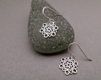 """ON SALE + Free Shipping. Small Silver Earrings. Filigree Circle Earrings. Sterling Silver Dangle. Simple Jewelry. Dainty Delicate. 1/2"""""""