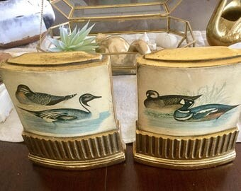 Vintage Wooden Hand Painted Duck Bookends