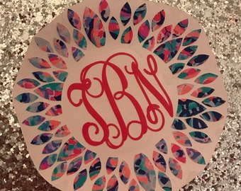 Lilly Print Inspired Dahlia Flower Decal | Monogram Decal | Vinyl Decal | Yeti Rtic Decal | Laptop Decal | Car Decal