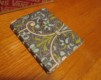 Floral Blue and Chessboard Patterned DIY Upcycled Journals