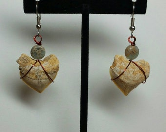 Classic Fossil Squalicorax Crow Shark Tooth and Adventurine Dangle Fish Hook Earrings
