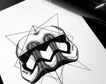 THE FIRST ORDER - Art Print - Star Wars Design Stormtrooper First Order Illustration - Dotwork Linework - Dark Art - Tattoo - Blackwork