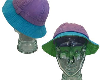 Vintage Pastel Color-Blocked Cotton Bucket Hat