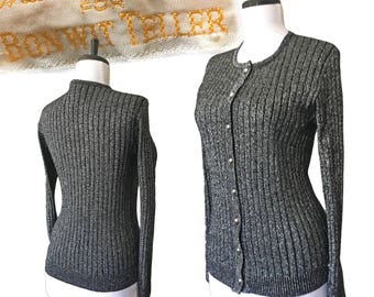 Vintage Black + Silver Sparkly Cardigan Sweater — Small