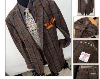 Mens Harris Tweed 70s Jacket by J.Philipp, Vintage Classic Sport Coat Blazer, Wide Brown Checked, 48 Regular, Scottish Wool, Mint Condition