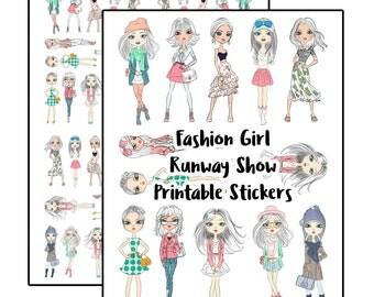 Fashion Girl Runway Show Printable Stickers for Planners | Kikki K | Filofax | Happy Planner | Erin Condren