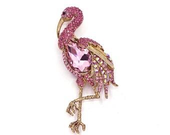 Pink Flamingo Brooch Rhinestone Crystal Broach Wedding Accessories Bridal Brooch