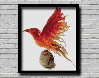 BOGO Cross Stitch Pattern Phoenix Bird Animal Pattern Modern Home Decor Firebird E Pattern Mythological Animal Mythical Creature