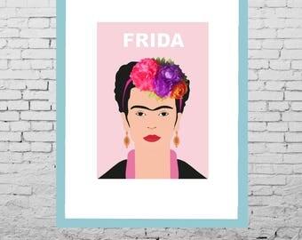 Frida kahlo framed art print 3D flower crown - framed fine art, digital print frida kahlo, flower crown, home decor, frida kahlo poster,