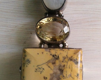 Citrine, Opal and Buttermilk Pendant Broach, Signed and Handcrafted