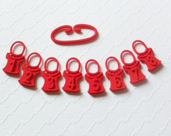Pullover - Red Numbered Sweater Shaped Stitch Markers in 3D Printed Plastic