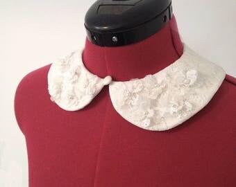 3D Flower & Lace Detachable Peter Pan Collar- Handmade Vintage Renewal
