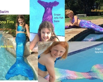 Mermaid Swim Tails With Mono Fins , (Tops Sold Separately on Drop Down)