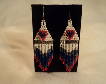 Earrings, hand-crafted, red, white and blue seed-beads, clear bugle beads, lightweight, comfortable, western, modern, traditional, casual
