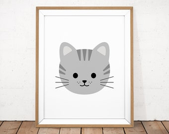 Tabby Cat Printable, Baby Cat Poster, Cute Baby Cat, Cat Face Wall Art, Grey Tabby Print, Kitty Wall Art, Kawaii Cat, Kawaii Baby Print