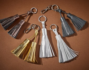 Double Tassel Leather Keyring / Bag Charm