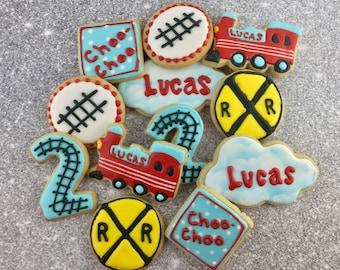 Choo Choo Train Cookies, Train Cookies, Railroad, Birthday Party Cookies